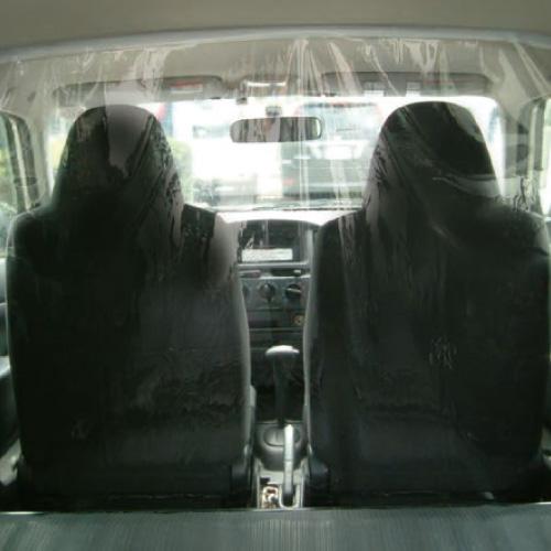 飛沫防止透明間仕切りシート 車内用
