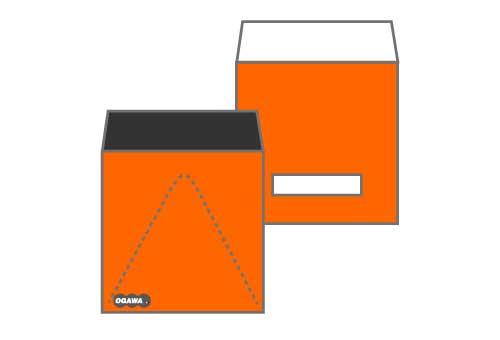 オリジナル H158xW158開封V字ジッパー付きセロ窓付き封筒
